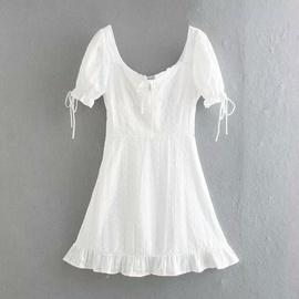 Puff Sleeve Lace-up Slim Dress  NSAM37187