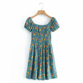 New Style Rayon Watermark Floral One-shoulder Short-sleeved Dress  NSAM37190