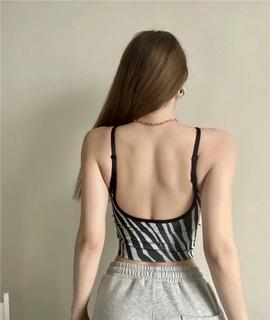 Fashion Print V-neck Sling Vest NSLD37200