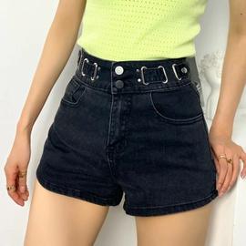 New Belt Decoration Loose High Waist Wide Leg Denim Shorts  NSAC37231