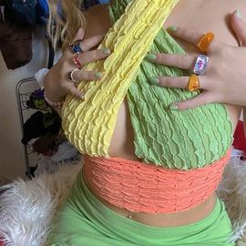 Color Stitching Hanging Neck Vest NSAG37247