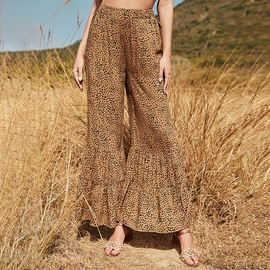 Spring New Casual Fashion Leopard Flared Pants NSDF37273