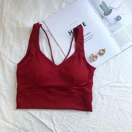 V-neck Solid Color Slimming Short Camisole NSHS37276