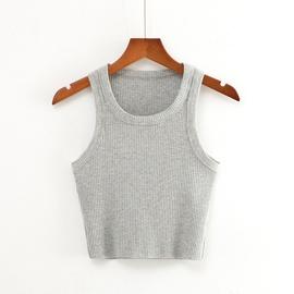 Solid Color Round Neck Short Knit Vest NSHS37285