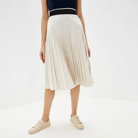 Solid Color High Waist Pleated Skirt  NSXS37326
