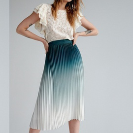 Gradient Pleated Pleated High Waist Skirt NSXS37330