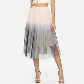 Gray Elastic Mid Pleated Skirt  NSXS37334