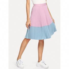 Summer Pleated Stitching Pink High Waist Skirt NSXS37335