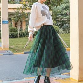 New Plaid Mesh High Waist Drape Pleated Skirt  NSXS37341