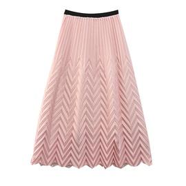 Wave Pattern Elastic Waist Pleated Skirt  NSXS37342