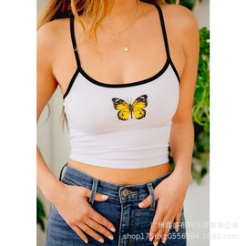 Butterfly Printing Stitching Short Vest  NSXS37347