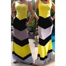 Hit Color Fashion Sexy Stitching Dress  NSXS37355