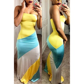 Sexy Color Matching Comfortable Long Skirt NSXS37357