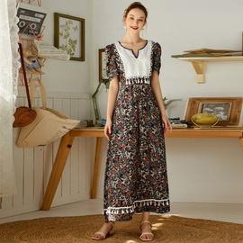Floral High Waist Stitching Fishtail Long Skirt  NSXS37360