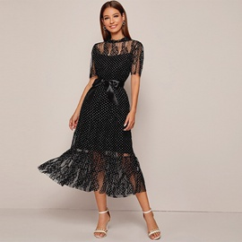 Black Lace Mid-length Skirt  NSXS37365
