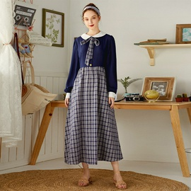 Stitching Mid-length Blue High Waist Plaid Dress NSXS37366