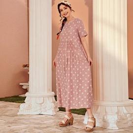 Loose Long Printed High Waist Dress  NSXS37371