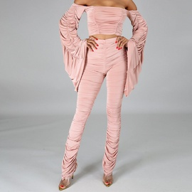 Long-sleeved Pink Top Pleated Pants Suit NSXS37386
