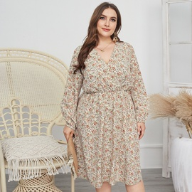 Plus Size Chiffon Big Swing Midi Dress  NSQH37478