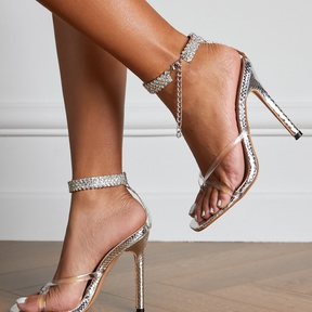 New Style Clip Toe Rhinestone Buckle High Heel Sandals  NSSO37526