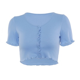 Single-breasted Solid Color T-shirt NSMX30350