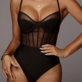 sexy mesh hollow bodysuit  NSFD37725