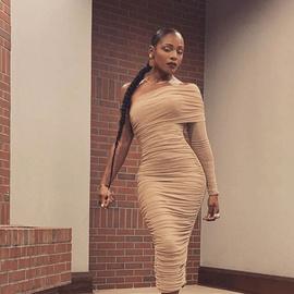 New Mesh Single-sleeve Slanted Shoulder Split Dress NSFD37748