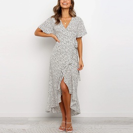 Casual Printed Chiffon V-neck High-waist Lace-up Dress  NSGE37771