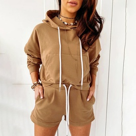 Casual Solid Color Long-sleeved Hooded Two-piece Set NSGE37820