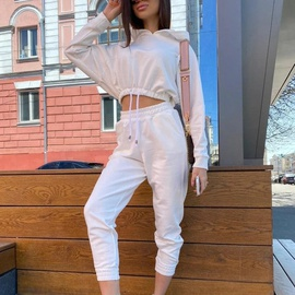 Casual Solid Color Pure Cotton Sweatshirt Suit NSGE37834