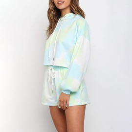 Tie-Dye Hooded Long Sleeve Sweatshirt Set NSGE37846