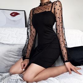 New Sexy Long Sleeve Black Perspective Mesh Sleeve Dress  NSHZ37921