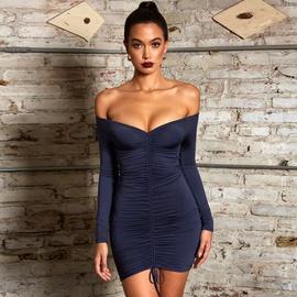 Sexy Strapless Long-sleeved Dress  NSHZ37930