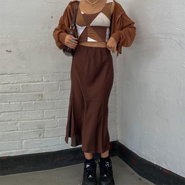retro brown slit thin half-length long skirt NSLQ37955