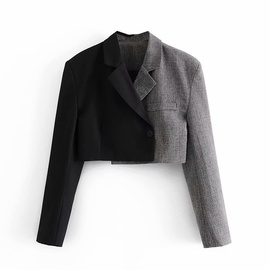 Splicing Short Temperament Small Suit Jacket   NSAM37984