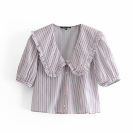 Spring Striped Small Round Lapel Blouse NSAM37987