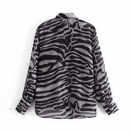 Fashion Retro Zebra Striped Chiffon Shirt  NSAM37997
