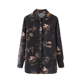 Long-sleeved Printing Single-breasted Shirt NSAM38008