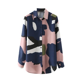 Graffiti Printing Lapel Long-sleeved Loose Shirt  NSAM38009