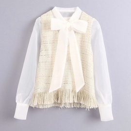 Spring Organza Stitching Tweed Shirt  NSAM38035