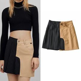 Stitching Contrast Color Irregular Skirt NSLD38060