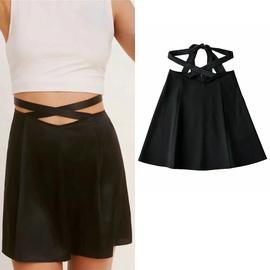 Waist Strap Design High Waist Solid Color Skirt NSLD38062