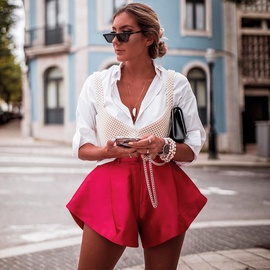 Solid Color Wide-leg Button Horn Shorts NSYF38086