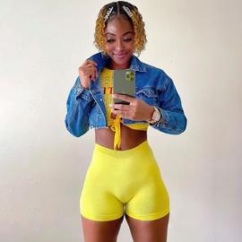 Casual Sports Pocketless High-waist Shorts NSMX38143