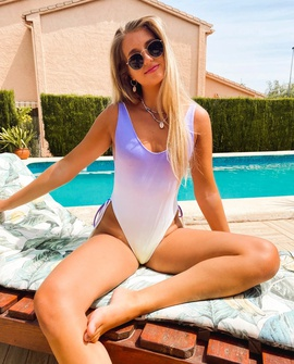 Gradient Pleated Sexy One-piece Swimsuit  NSHL38181