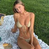 Bikini Sexy De Triángulo De Color Sólido NSHL38192