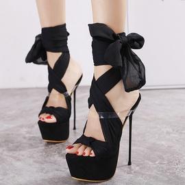 Black Stiletto Bow Tie Sandals   NSCA38215