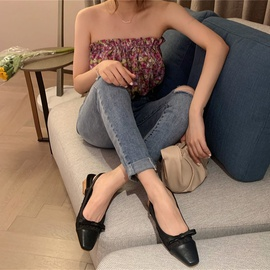 Bow Knot Thick Heel Sandals   NSCA38226