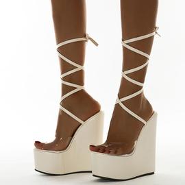 Wedge Heel Straps High Heel Sandals   NSCA38227