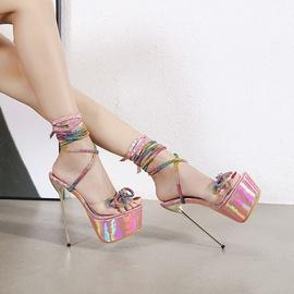 Color Rhinestone Bow Tie Heel Sandals NSCA38228